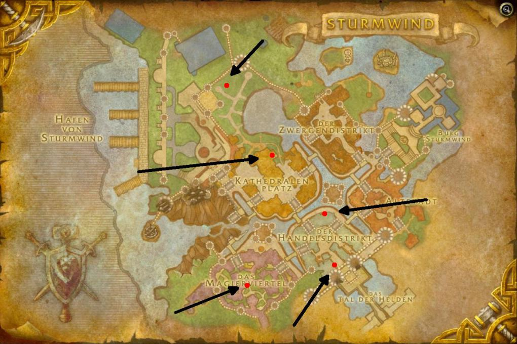 Die Gedenkstätten in Sturmwind von World of Warcraft.