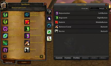 World of Warcraft: Addon Clique
