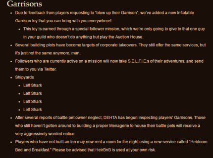 Die Aprilscherz Patch Notes für World of Warcraft.