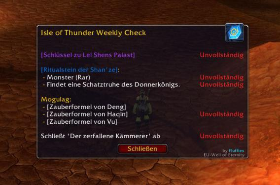 WoW-Addon Isle of Thunder Weekly Check