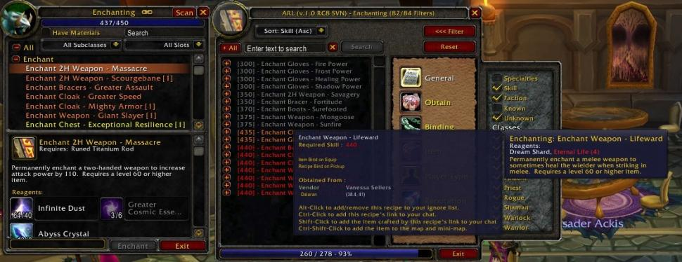WoW: Addons - Ackis Recipe List (1)