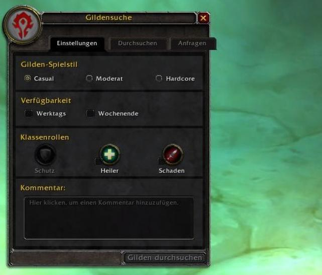 Das Gildensuchfenster in World of Warcraft: Cataclysm Patch 4.1.0