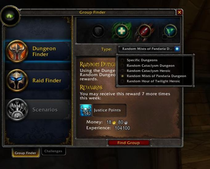 WoW Mists of Pandaria: Neues Gruppenfinder-Interface vereint Dungeon- und Raidfinder.