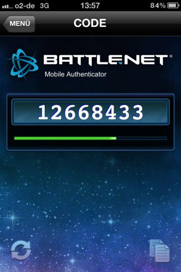 Der Battle.net-Authenticator auf dem iPhone.