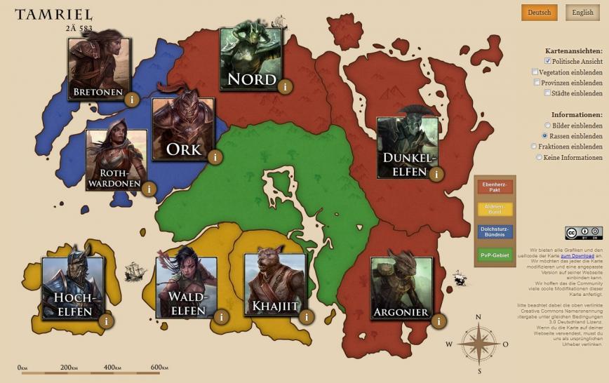 The Elder Scrolls Online: Interaktive Karte Tamriels online