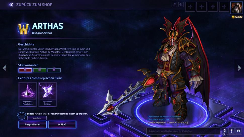 Heroes of the Storm: Blutgraf Arthas Skin (1)