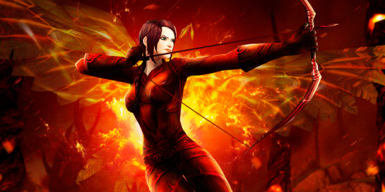 Blizzards WoW-Helden im Stil von Katniss Everdeen.