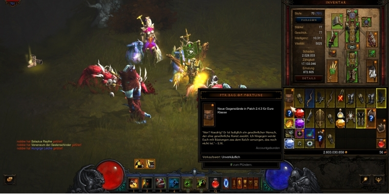Diablo 3: Patch 2.4.3 PTR Bag of Fortune