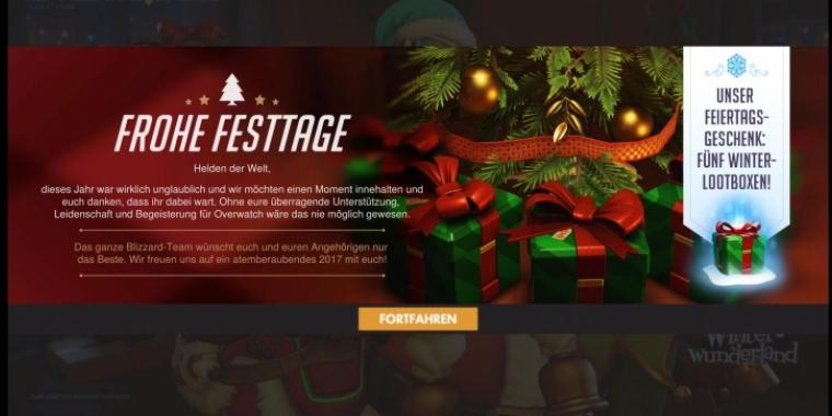 Kostenlose Weihnachtsgeschenke.Overwatch Kostenlose Lootboxen Als Weihnachtsgeschenk Von Blizzard