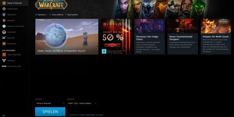 Wow Blizzard über Neue Account Und Versionsauswahl